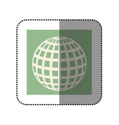 color sticker square with globe earth icon vector image vector image