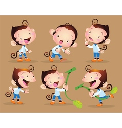 cute monkey boy character vector image vector image