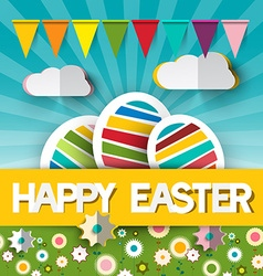Happy Easter with Paper Cut Title - Colorful vector image vector image