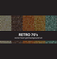Heart pattern set retro 70s seamless vector