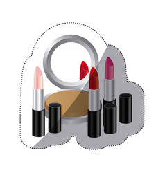 Sticker colorful silhouette with make up set vector