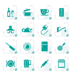 stylized kitchen objects and accessories icons vector image vector image