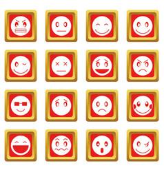 emoticon icons set red vector image vector image