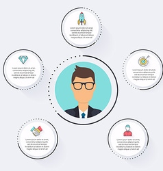 flat customer office concept - icons and vector image