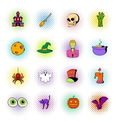 Halloween set icons comics style vector image vector image