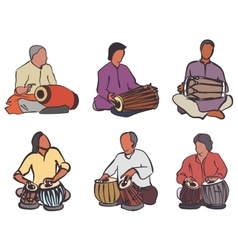Indian drums set vector image vector image