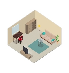 Isometric Interior Design Living Room Furniture vector image