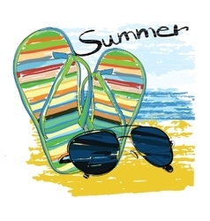 background summer with lettering sunglasses vector image vector image