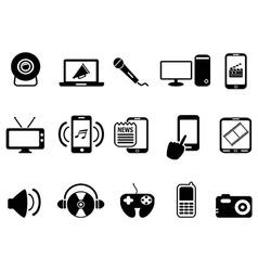 black modern mobile media icons set vector image vector image