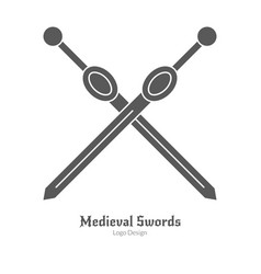 Medieval logo emblem template black simple style vector