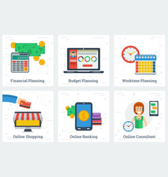 six planning and online services concepts vector image vector image