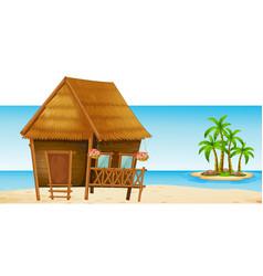 Wooden hut on the beach vector