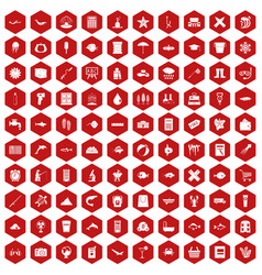 100 fish icons hexagon red vector