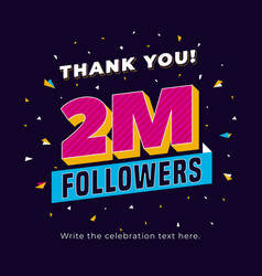 2m followers two million followers social media vector