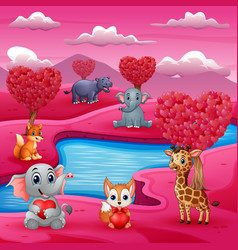 a group of animals celebrate valentines day by the vector image