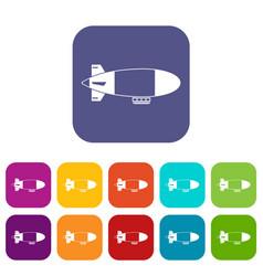 Aerostat airship icons set vector