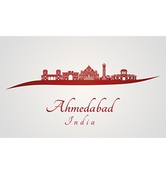 Ahmedabad skyline in red vector image