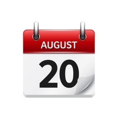 August 20 flat daily calendar icon Date vector