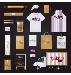 Bakery corporate identity template design set vector