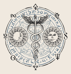 Banner with hermes staff caduceus and runes vector