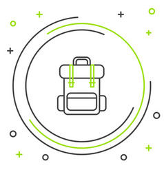 Black and green line hiking backpack icon isolated vector