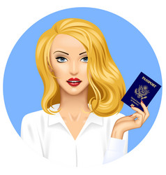 blonde girl with an american passport in hand vector image