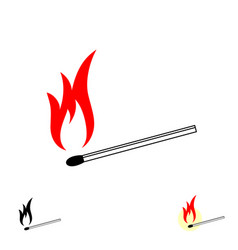 Burning match stick with fire flame vector