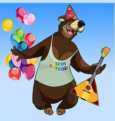 Cartoon character happy bear with a balalaika vector