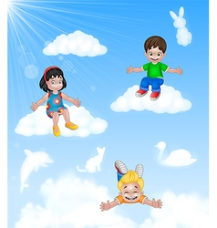 Cartoon Happy little kids sitting on cloud vector