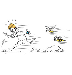 Cartoon of male tourist running away from large vector