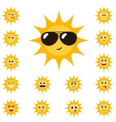 Cartoon sun set with funny smiley faces vector