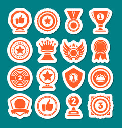 Champion awards of different shape icons set vector