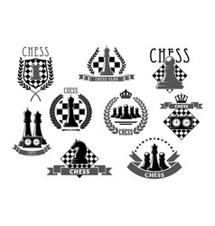 chess club emblems and icons vector image