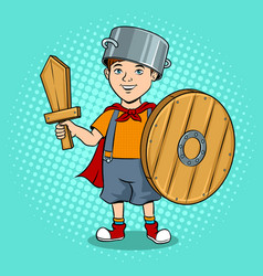 child in wooden armor pop art vector image