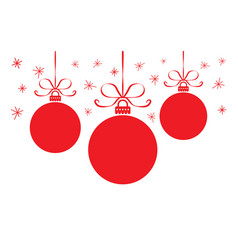 christmas card with colorful red balls vector image