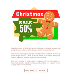 christmas sale 50 percent gingerbread man poster vector image