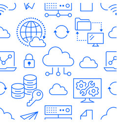 Cloud data storage seamless pattern with line vector