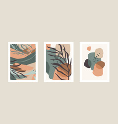 collection art prints with abstract leaves vector image