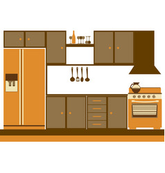 color silhouette of kitchen cabinets with stove vector image