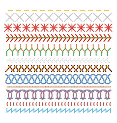 Colored sewing stitches set pattern in lines vector