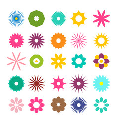colorful flat flowers icons set isolated on white vector image