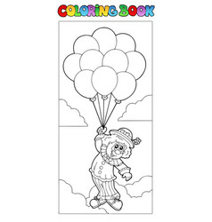 Coloring book with flying clown vector