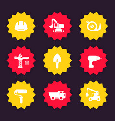 Construction icons badges vector
