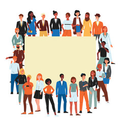 Crowd diverse nations and gender people vector