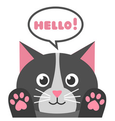 cute cartoon black cat with speech bubble vector image