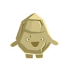 Cute smiling rock element cartoon emotions vector