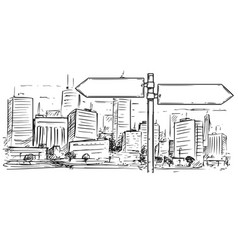 Drawing of empty blank traffic road sign on city vector