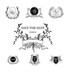 elements of wedding stationery vector image