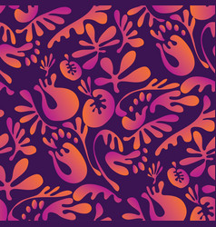 exotic leaves and floral seamless pattern vector image