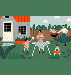 family on bbq party on backyard father vector image